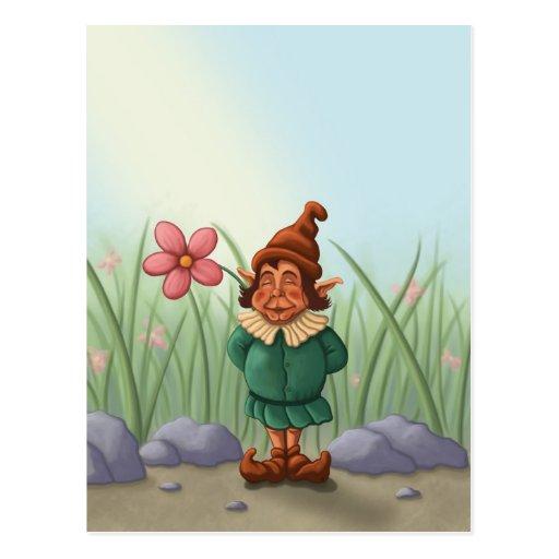 flower gnome garden postcard