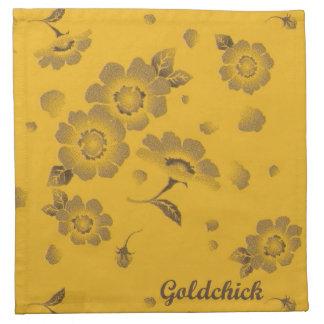 Flower Gold Cloth Napkins