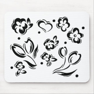 Flower graphic mouse pad