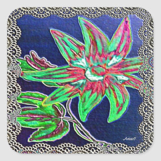 Flower Green and Blue Lacy Painting Square Sticker