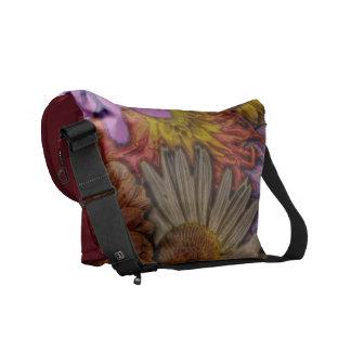 flower greetings, vintage look messenger bags