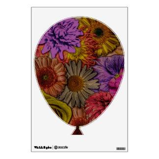 flower greetings, vintage look wall graphic