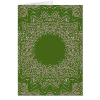 Flower Guilloche pattern money green1 Greeting Card