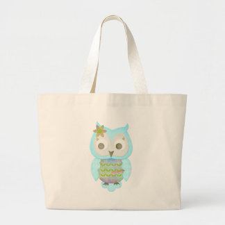 Flower Gypsy Owl Large Tote Bag