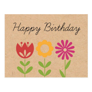 Flower Happy Birthday Post Cards