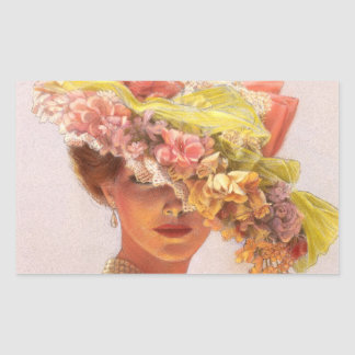 Flower Hat Victorian Lady Oval Stickers