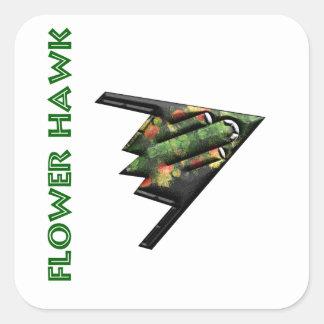 Flower Hawk Pegatina Cuadrada