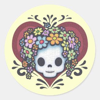 Flower Head Heart Jr. Classic Round Sticker