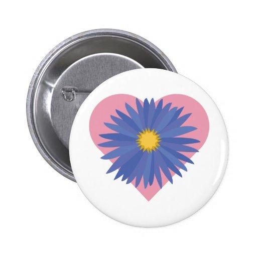 Flower Heart 2 Inch Round Button