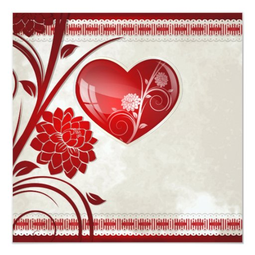 "Flower Heart 5.25"" Square Invitation Card"
