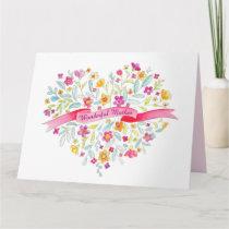 Flower heart bouquet art Mother get well card