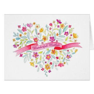 Flower heart bouquet art Mother's Day card