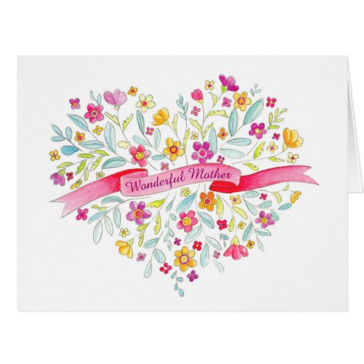 heart flowers mothers day card flower bouquet s day card zazzle 6702