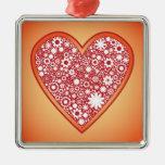 Flower heart christmas tree ornament