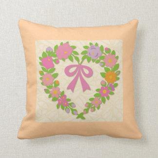 Flower Heart Folk Art Pillow