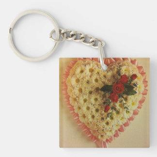 Flower heart key ring keychain