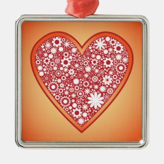 Flower heart metal ornament