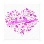 Flower heart pink purple name watercolor art canvas print