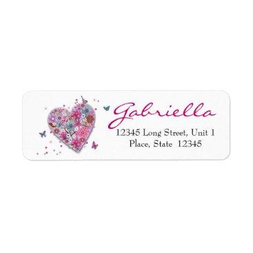 Valentines Themed Flower Heart Return Address Labels
