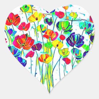 Flower Heart Stickers, Glossy Heart Sticker