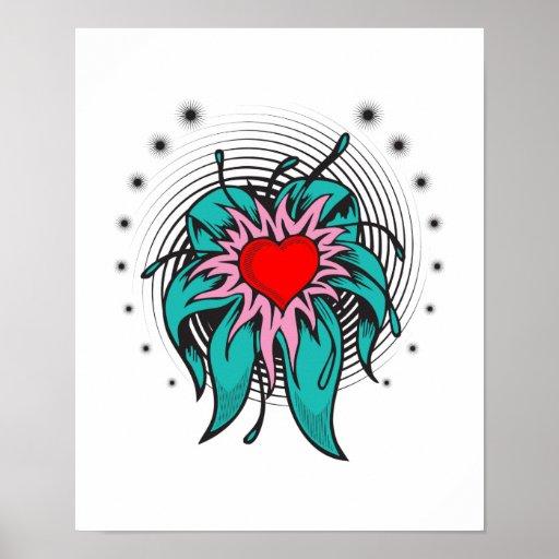 flower heart tattoo design poster
