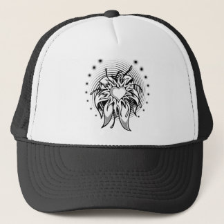 Flower Heart Tattoo Design with a spiral Trucker Hat