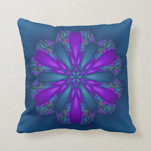 Blue Purple Throw Pillows : Flower Hearts Blue and Purple Fractal Throw Pillow Zazzle
