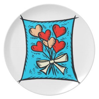 Flower hearts blue back party plate