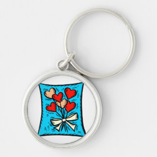 Flower hearts blue back Silver-Colored round keychain