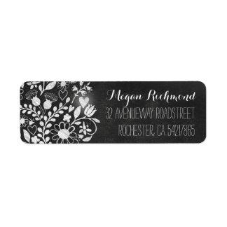 flower hearts chalkboard return address labels