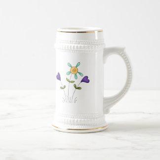 Flower Hearts 18 Oz Beer Stein