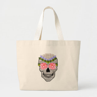 Flower Hipster Day of the Dead Skull Large Tote Bag