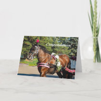 Flower Horse Congratulations Wedding Card