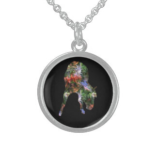 Flower Horse On Black Silhouette Necklace