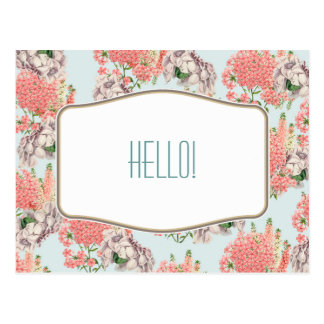 Flower, hortensias pink gardenias details postcard