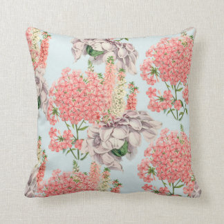 Flower, hortensias pink gardenias details throw pillow