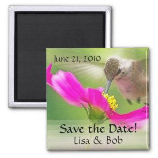 Flower Hummingbird Save the Date Magnet