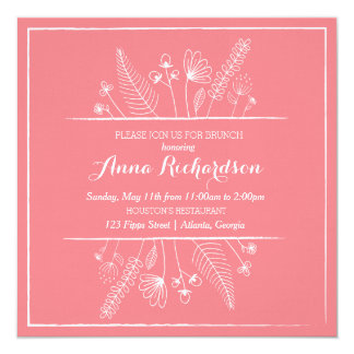Flower Illustration Brunch Invitation