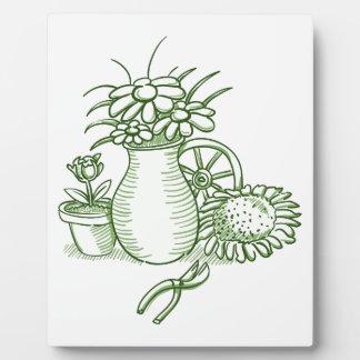 Flower Illustration Photo Plaque