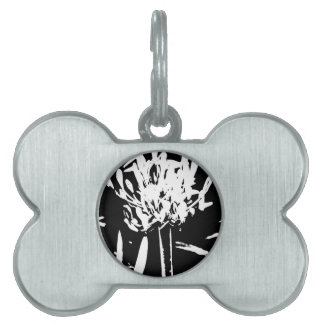 Flower in Black and White Pet Name Tag