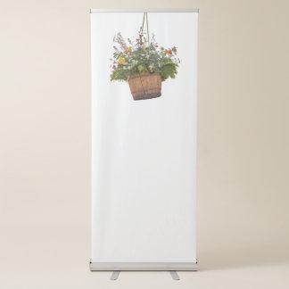 flower in bloom in the hanging wood vat retractable banner