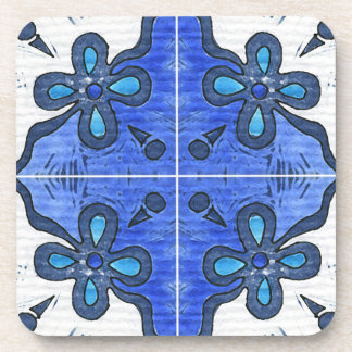 Flower in Blue Inspired by Portuguese Azulejos Coaster