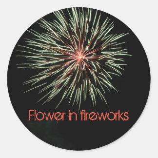 Flower in fireworks classic round sticker