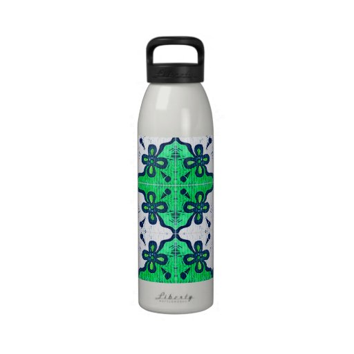 Flower in Green Inspired by Portuguese Azulejos Drinking Bottles