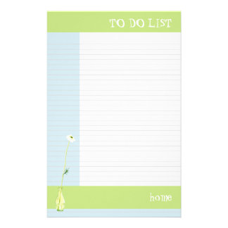 Flower in Green To Do List Stationery Paper