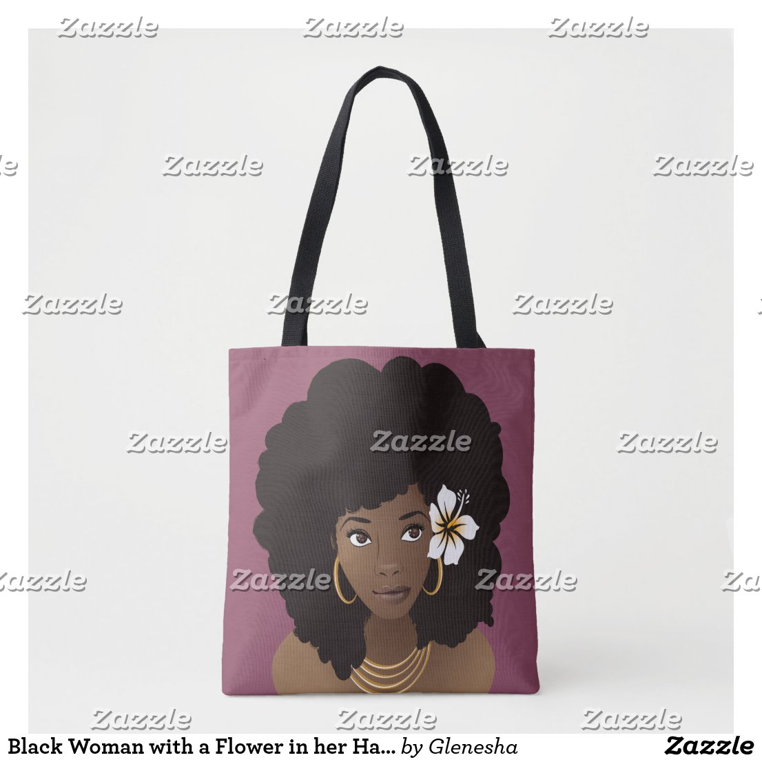 Flower in her Hair, Natural Beauty Tote Bag