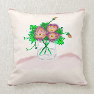 Flower in mason jar throw pillow