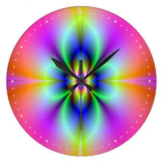 Flower in Neon Wall Clock