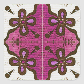 Flower in Pink Inspired by Portuguese Azulejos Square Sticker