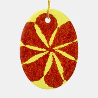 flower in red ceramic ornament